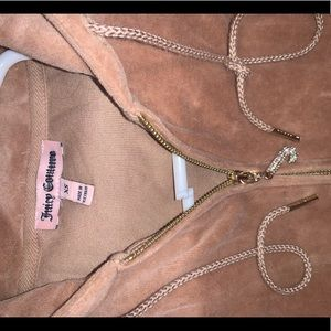 Tan Juicy Couture Zip Up Hoodie Embellished Zipper